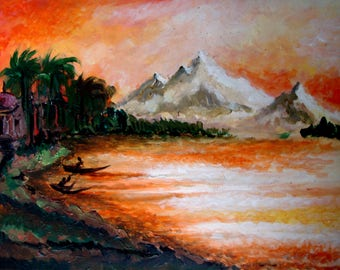 Original Oil Painting Natural Evening Scenery