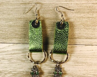 Leather earrings, Lime green leather, Earrings, Earrings with owls, Charms,  Drop earrings