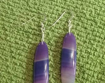 AAA Natural Purple Banded Agate Oval Earrings