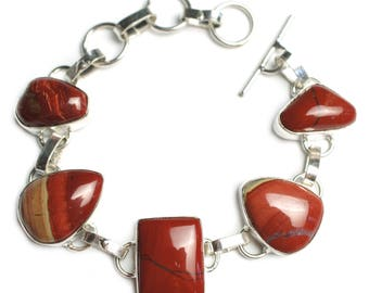 "Chunky Red Jasper Gemstone Bracelet with Toggle Clasp with triple loops adjusts from 7"" to 7 7/8"" to 8"""