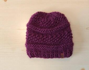 plum knit hat (adult)