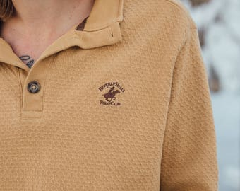 VINTAGE Beverly Hills Polo Club // 70's Aesthetic Mustard Yellow Collared Sweater