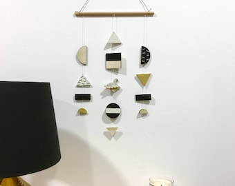 Swan wall jewelry / / Black, gold, white