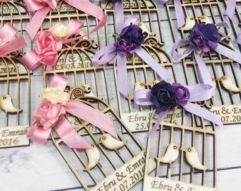 10 Wooden Bird Cage Magnet Wedding Favors - Laser Engraved Personalized Favors