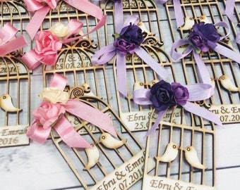 20 Wooden Bird Cage Magnet Wedding Favors - Laser Engraved Personalized Favors