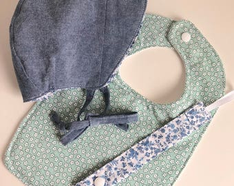 Chambray and calico Bonnet and Bib Set