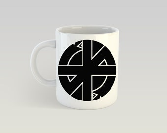 Crass 11oz Coffee Mug Punk Anarchy Conflict Flux of Pink Indians Dirt Poison Girls Lack of Knowledge Peace Punk