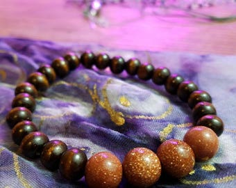 Goldstone and Wood Beaded Bracelet