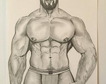 GAY MALE ART Muscle Bearded Bear Jockstrap Daddy Undressing Original Pencil Drawing Hot Sexy Honcho Man Stud Lgbt
