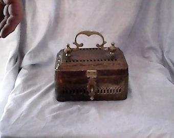 Vintage lady's brass lock box