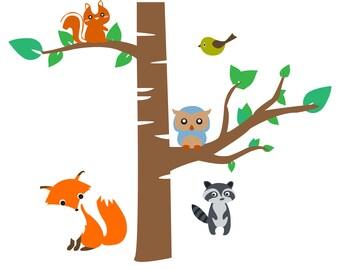 Forest Scene w/ Baby Animals Svg Cut File