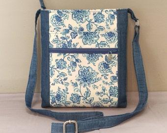 Pretty blue floral fabric crossbody bag, shoulder bag. Room for all the essentials!