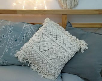 Macrame pillow case, decorative pillow cover, two sided pillow cover