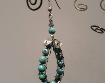 Turquoise & Swarovski Earrings