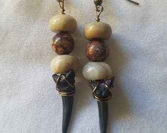 Handmade wire wrapped Shark tooth, Agate and Leopard Jasper earrings