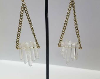 Quartz Crystal 5 Point Earrings
