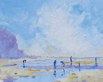 "Modern Oil Painting . "" Hot Summers Day on the Beach"" Seaside Art in Blue and Yellow."