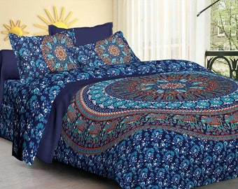 Queen Mandala Indian tapestry bedspread with pillows