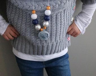 Denim Pendant Necklace