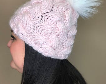 Blush Chunky Cable Knot Hat