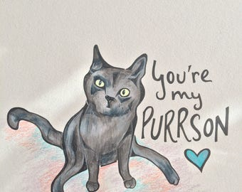 You're My Purrson! -- Cat Card for Valentine's Day