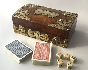 Antique Walnut Playing Card Games Box, Circa 1900 - Ref: G2568