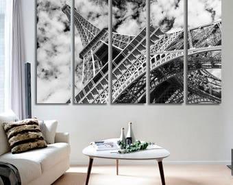 Paris Eiffel Tower Cityscape Canvas Print Home Decor Eiffel Tower Wall Art Paris Modern Prints  Ready To Hang Canvas Print