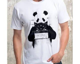 White t-shirt for man, Panda criminal, funny t-shirts, birday t-shirt, graphic t-shirt, t-shirt design, t-shirt man, for him
