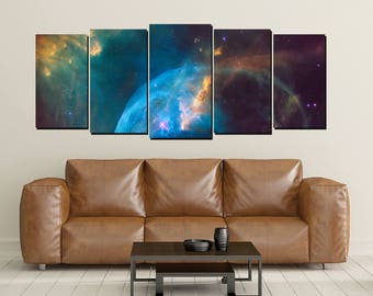 Nebula Galaxy Canvas Wall Art, Cosmos Universe Print, Crab, Large 5 Panel, Home Wall Decor