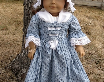 Blue Colonial Day Dress for 18 inch dolls with Cap and Fichu