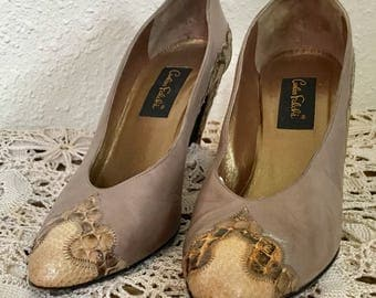 80's Vintage Tan Leather Snakeskin Pumps