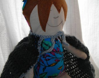 Handcrafted cloth doll named Pixie Pop, including shawl and moccasin shoes