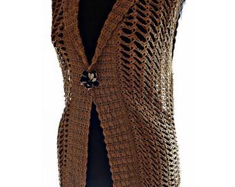 Crochet waistcoat, knitted vest, crochet vest, Openwork vest, women's clothing, crochet women's clothing, vest of gold color, summer vest
