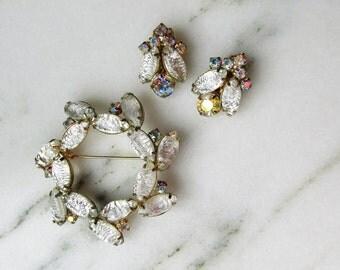 Vintage D&E Juliana Silver Navette AB Rhinestone Brooch Earrings Set
