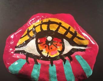 Hand painted decor pop art magic third eye stone evil eye protection fashionMAUVE SERIES 2