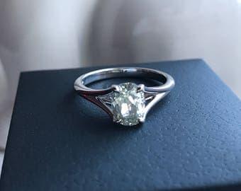 Beautiful 1.33 Cts Oval Cut Natural Diamond 18K White Gold Handmade Ring