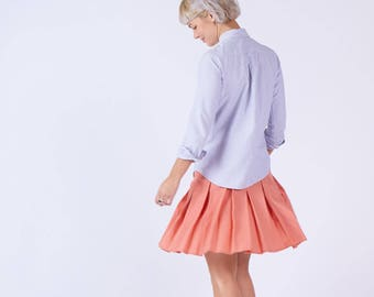 Womens Pleated Mini Skirt In Coral