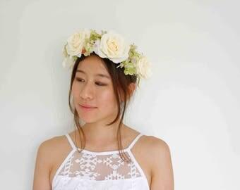 cream rose floral crown - [bridal, hydrangeas, open-back crown]