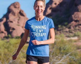 Running is my Therapy Triblend T-shirt - Women's - Light Blue