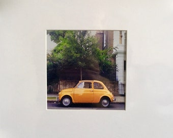 Yellow Fiat in Notting Hill, London