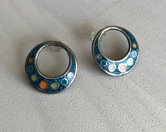 Silver Inlay Round Earrings