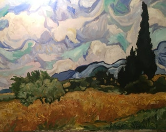 Faux Van Gogh - Wheatfield with Cypresses - Hand Painted 24x18