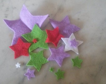 Pack of mixed Felt Stars-Different Sizes and Colours.Perfect for Craft Projects.