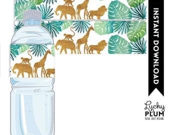 Safari Water Bottle Label / Animal Water Bottle Label / Jungle Water Bottle Label / Safari Napkin Ring / Elephant Giraffe Lion Monkey SF01