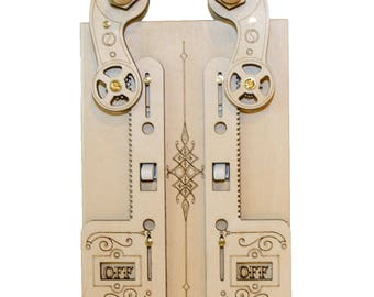 Double Rack Gear Light Switch Cover Plate