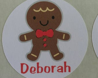 Personalized Gingerbread Cookie Stickers for Back to School, Name labels, cards, etc set of 20