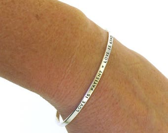 Love is Patient, Love is Kind, sterling silver cuff bracelet with 1 Corinthians 13
