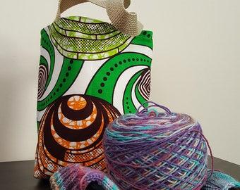 Green Swirl Knitting Bag / Tote Bag