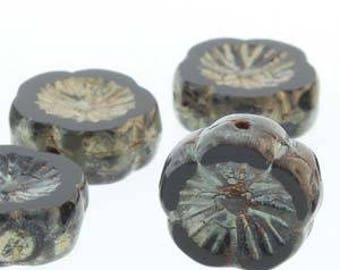 Czech Glass Hawaiian Flower, 12mm, 12 beads, Black Picasso