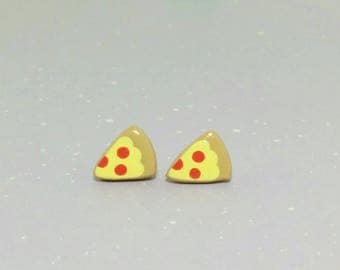 Pepperoni Pizza Clay Sterling Silver Post Earrings